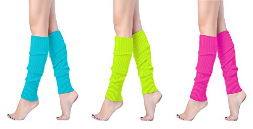 V28 Women Juniors 80s Eighty's Ribbed Leg Warmers for Party Sports, (3 Pack A) -