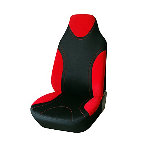 AUTOYOUTH 1PC Racing Style Integrated Front Bucket Seat Cover Flat Cloth Two Tone Colors(Red/Black) Auto Accessories Universal Fits for Most Cars, SUV, Truck