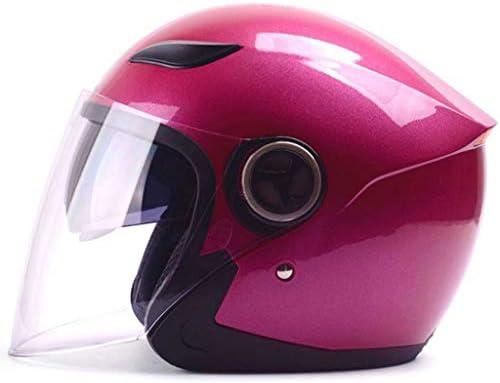 NJ ヘルメット- 冬のオートバイのヘルメットの男性と女性の四季半ヘルメットダブルミラーアンチフォグヘルメット (色 : Roland red, サイズ さいず : 30x25x26cm)