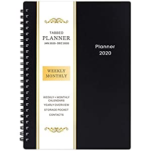 2020 Planner – Weekly & Monthly Planner, Flexible Cover, 12 Monthly Tabs, 21 Notes Pages, 6.25″ x 8.3″, Twin-Wire Binding with Two-Sided Inner Pocket