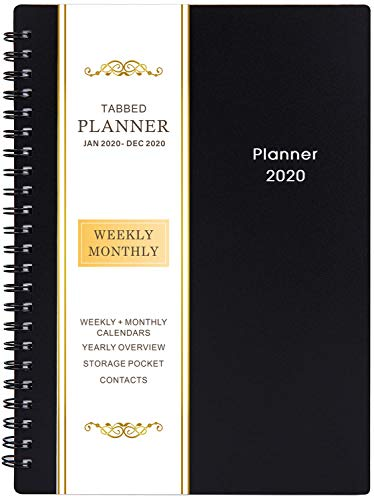 "2020 Planner - Weekly & Monthly Planner, Flexible Cover, 12 Monthly Tabs, 21 Notes Pages, 6.25"" x 8.3"", Twin-Wire Binding with Two-Sided Inner Pocket"