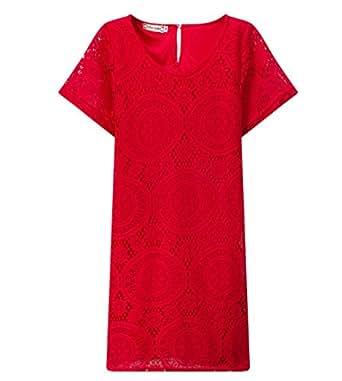 Joyhy Women's Short Sleeve O Neck Sexy Crochet Lace Mini Dress L Red