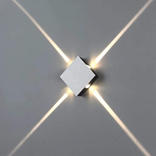 Ladiqi Modern LED Directional Wall Sconce Square Contemporary Waterproof Aluminum Wall Light Silver Wall Lamp