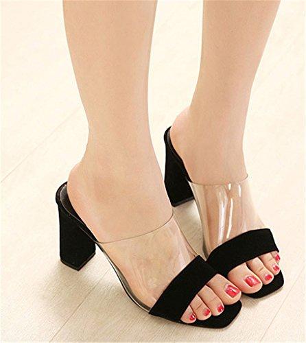 High Good Heels Sandal Block Women's Transparent Toe Black Night Square Heels Slippers F77fIr