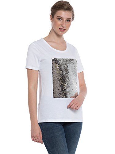 Rubyred Women Reversible Black Gray Magic Shiny Two Tone Flip with Ease Sequins Stylish Writable Mermaid White Short Sleeve T-Shirt Change Design with Hand Swipe (XX-Large (14))