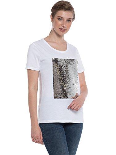 Rubyred Women Reversible Black Gray Magic Shiny Two Tone Flip with Ease Sequins Stylish Writable Mermaid White Short Sleeve T-shirt Change Design with Hand Swipe (X-Large (Flip Tee)