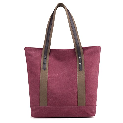 Women's Ladies Canvas Casual Vintage Daily Purse Top Handle Shoulder Tote Shopper Handbag (Red) ()