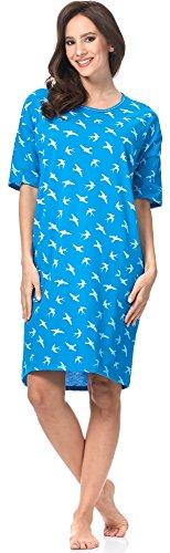 Italian Fashion IF Camisón para Mujer Cleo 0114 Turquesa/Blanco