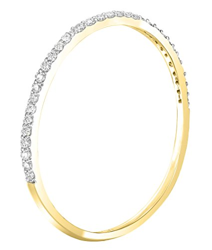 Buy Jewels 14k Gold Dainty Half Band Natural Diamond Wedding Anniversary Ring (0.08 cttw, G-H Color) (Yellow-Gold, 7) ()