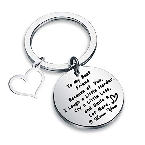 LQRI Friendship Gifts to My Best Friend Keychain Because of You I Laugh a Little Harder Cry a Little Less Smile Keyring Sister Gift (Silver) -