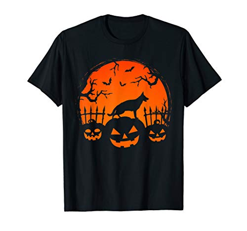 Gsd Halloween Costumes (Halloween Night Pumpkins GSD Dog Silhouette Costume)