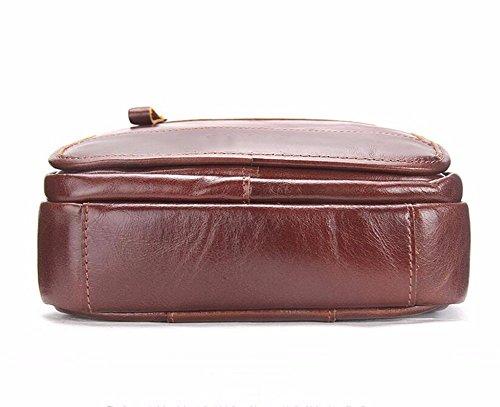 Surnoy Men 's single Shoulder Bag, 10 pulgadas de cuero Casual moda bolso, bolso de la cremallera vertical,Brown Brown