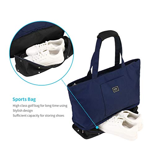 Gonex Large Travel Tote Weekender Shoulder Bag with zipper for Women Blue /& Black Water Resistant Polyester Carry on Tote with Shoes Compartment for Shopping Beach and Gym