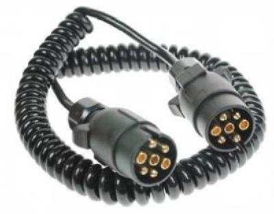 Trailer extension lead curly cable 3m long with 2 x 7 pin plug plastic trailer plugs Pt no. LMX735 Leisure Mart
