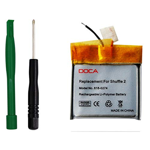 (Replacement Battery for iPod Shuffle 2th, DOCA Li-Polymer Rechargeable Battery with Opening Pry Tool Kits (Model No. 616-0274))