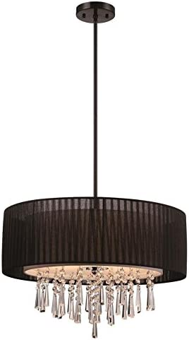 Modern Black Drum Shade Crystal Hanging Pendant Light 22.84-in Contemporary Penchant