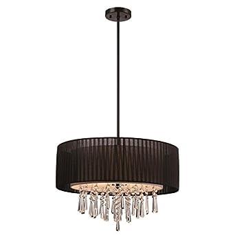 Modern Black Drum Shade Crystal Hanging Pendant Light 22.84-in ...