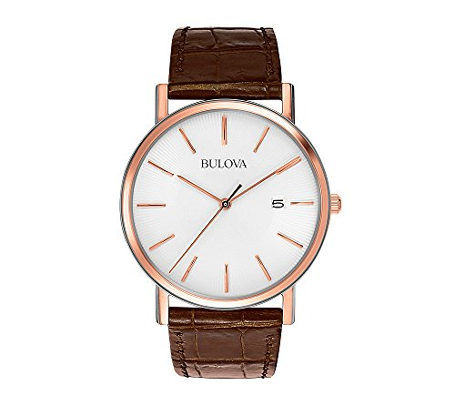 Bulova-Mens-Brown-Leather-Strap-and-White-Dial-Watch