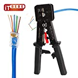 ITBEBE RJ45 Crimping Tool Made of Hardened Steel with Wire Cutter Stripping Blades and Black Textured Grips