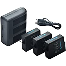 Artman GoPro Hero 5/6 Replacement Batteries (3 Pack) and 3-Channel LED USB Charger with Type-C Port for GoPro Hero 5 Hero5 Black AHDBT-501, AHBBP-501,HERO(2018),HERO 6(Fully Compatible with original)