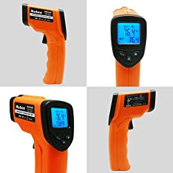 Nubee Temperature Gun Non-Contact Infrared Thermometer Adjustable Emissivity & Max Display