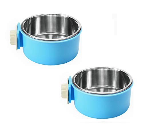 Keloka 2 in 1 Stainless Steel Pet Hanging Bowl Removable Dog Bowl for Crates Puppy Food Feeder Water Dish with Bolt Holder for Medium Dog 2 Packs (Blue-Small) (Large Dog Crate 2 In 1)