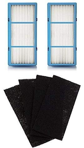 - Nispira 2 HEPA Filter Replacement + 4 Charcoal Booster Pre Filter for Holmes AER1 Total Air Filter, HAPF30AT for Purifier HAP242-NUC