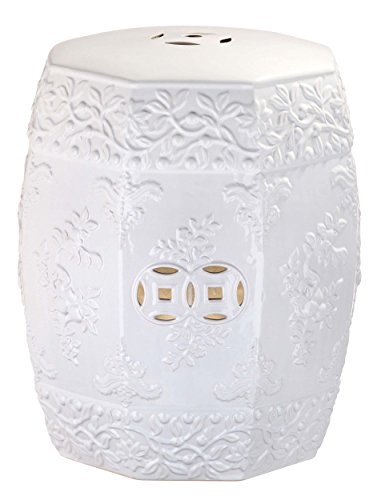 Safavieh Castle Gardens Collection Glazed Ceramic White Zen Ren Garden Stool
