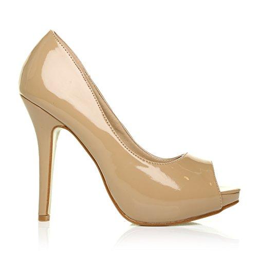 TIA - Chaussures à talons aiguilles - Plateforme - Bout ouvert - Nude foncé - Vernis