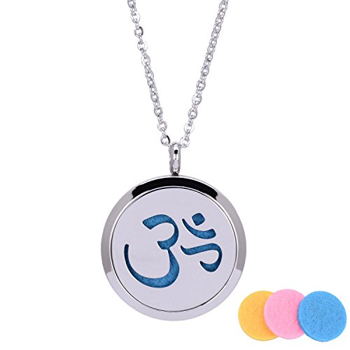 31 Inch Essential Oil Diffuser Necklace Stainless Steel Aromatherapy Perfume Hollow-out Locket Necklace