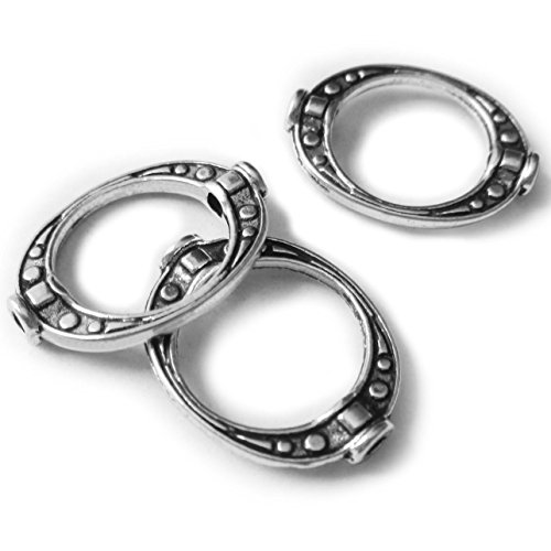 Heather's cf 70 Pieces Silver Tone Oval Flat Bead Frame Findings Jewelry Making (Frame Findings)