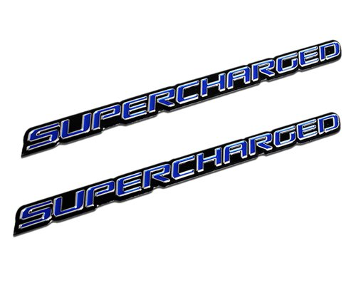 ERPART Blue Supercharge Supercharged Aluminum Emblems Compatible with Chevy Corvette Dodge Hot Rod Street Chevy Impala SS Harley Davidson Camaro Range Rover Ford Mustang Gt (Pack of 2)