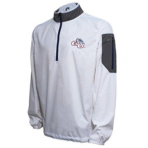 Crable NCAA Gonzaga Bulldogs Men's Lightweight Windbreaker Pullover, White/Navy, Large ()