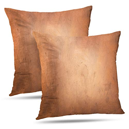 Tyfuty Set of 2 18 x 18 inch Throw Pillow Covers Copper Metallic Surface Bronze Metal Old Brass Gold Light Industrial Pillowcases Cushion Use for Living Room Bed Sofa ()