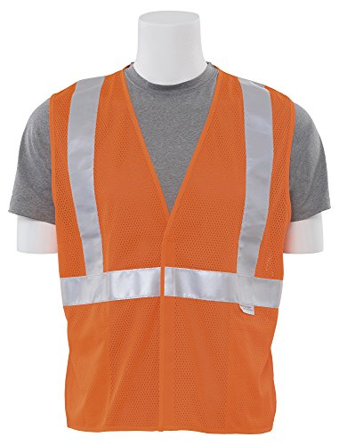 - ERB 14521 S15 ANSI Class 2 Mesh Safety Vest with Pockets, Orange, 2X-Large