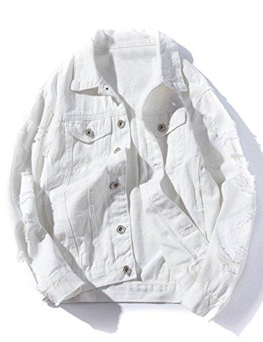 ZLSLZ Womens Girls Cute Solid Distressed Ripped Long Sleeve Denim Jean Jacket Coat Plus Size White US ()