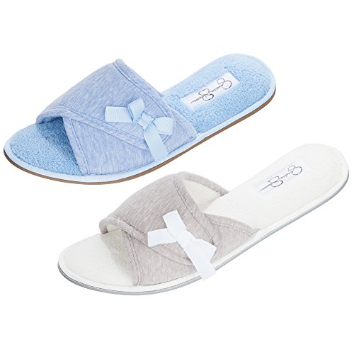 Jessica Simpson Open Toe Scuff Slide Women's Indoor House Shoe Slipper with Ribbon Bow