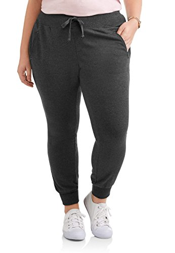 Terry Zip Pocket Pant (MIA KAYE Women's Plus Stretch French Terry Lounge Jogger With Zip Pockets (2X, Charcoal Heather))
