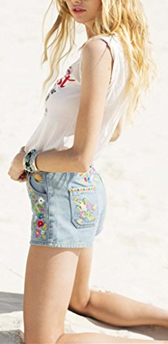 Haute Beautisun Shorts Big Denim Bleu Loose Rtro Casual Denim Light Pants Shorts Taille Irrguliers Bohemian Ladies Shorts lastique Blue 2 Hot trBqOr
