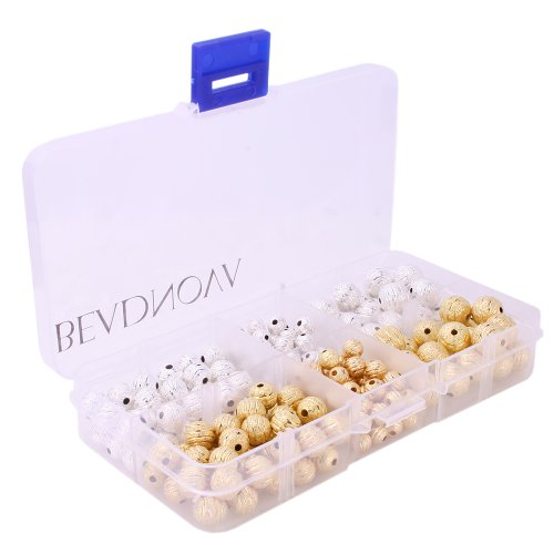BEADNOVA 220pcs Silver/ Gold Plated Round Metal Rondelle Spacer Beads Stardust Stripe Beads Assortment Mix Lot 6mm 8mm (10 Mm Stardust Beads)
