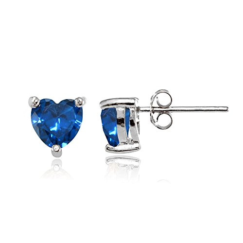 6mm Heart Blue Topaz Earring - Sterling Silver Simulated London Blue Topaz 6mm Heart Stud Earrings
