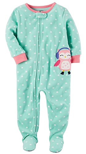 Green Footed Sleeper Pajamas (Carter's Baby-girls' 1 Pc Fleece Footed Blanket Sleeper Pajamas (18 Months, Green Owls))