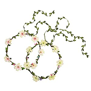 Sunm boutique Bridal Flower Garland Adjustable Headband Flower Crown Floral Hair Wreath Halo for Wedding Party, Pack of 2 25