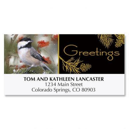 Chikadee Christmas Address Lables- 48 Self-Adhesive,Flat-Sheet Return (Free Christmas Address Labels)