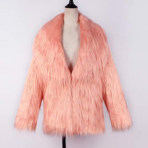 Parka Bringbring Grand Fausse en Chaud Manteau d'hiver Orange Veste Revers Couleur Unie Femme Fourrure Wqfz7wPaRn