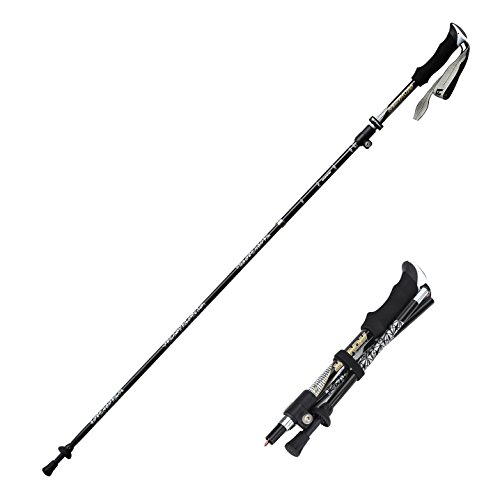 "Yahill 1 pc Adjustable(42""-50"") Light Weight Carbon/Aluminum Collapsible Trekking Pole, for Trail Running Climbing Hiking Travel Backpacking Walking Expedition,Black"