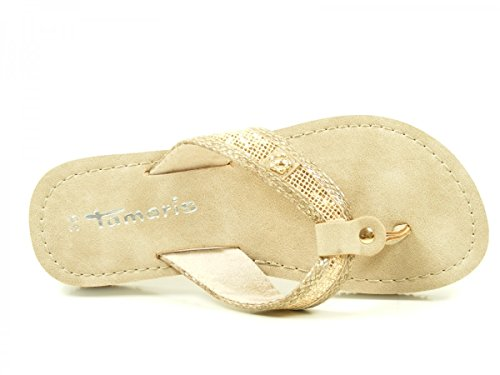 Tamaris Schuhe 1-1-27117-38 Bequeme Damen Pantolette, Sandalen, Sommerschuhe für Modebewusste Frau, LT.GOLD/TAU.ST