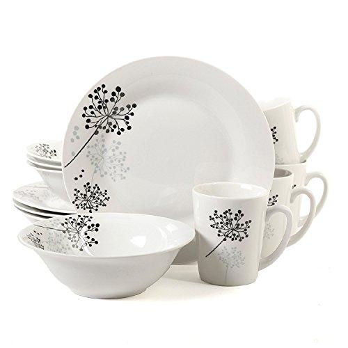 Decorative Stoneware (Gibson Decorative Cherry Design 12-Piece Ceramic Porcelain Dinnerware Set, White)