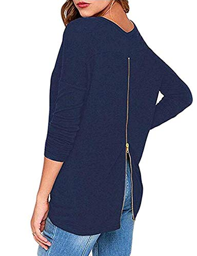 Plus Size Clothing for Women Tops Sexy Open Back Shirt with a Zipper on the Back Dark Blue XXL