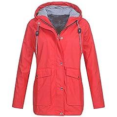 d84ae6c66fc Womens Solid Rain Jacket Outdoor Plus Jackets Waterproof Hood .